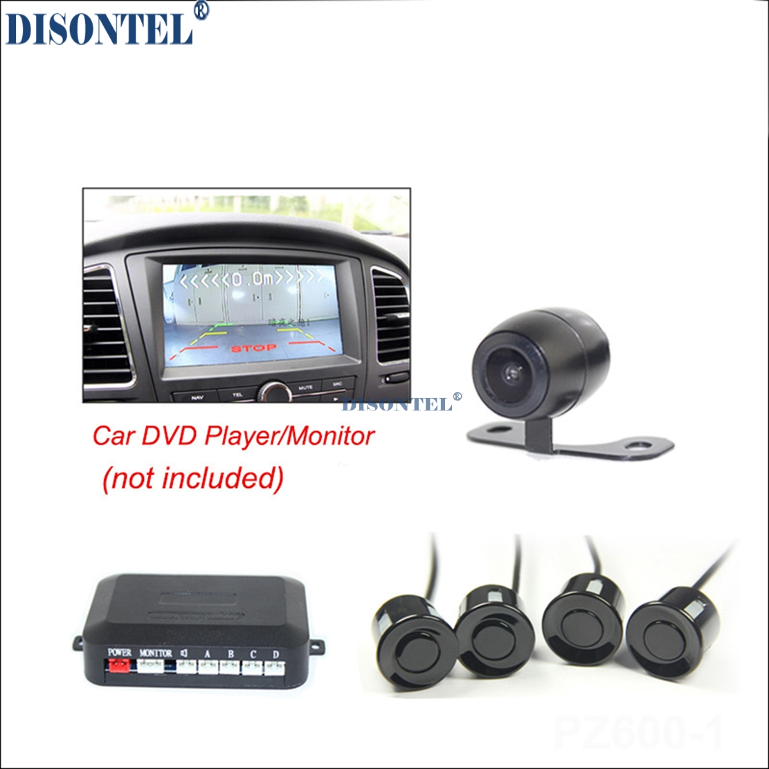 Car 4 Parking Sensors Rear View Reverse Radar With CCD Butterfly Design Night Vision Camera Parking System(China (Mainland))