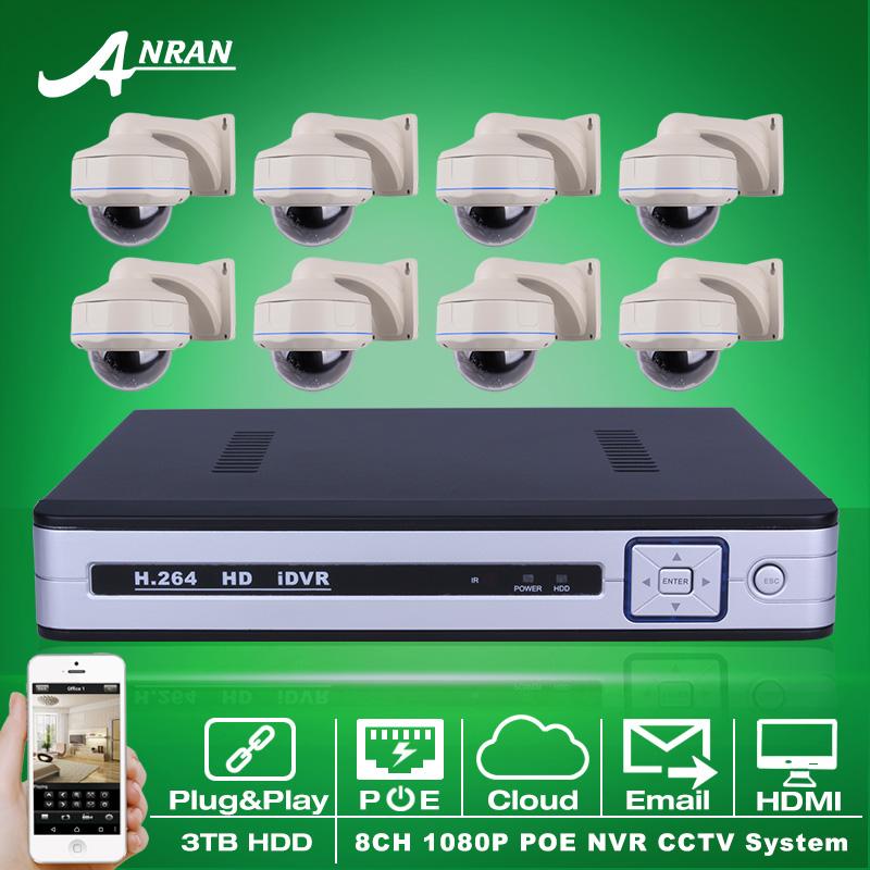 Plug And Play 8CH NVR POE CCTV System 3TB HDD P2P 1080P HD Vandalproof Dome IR Night Vison Security Surveillance Camera Kit(China (Mainland))