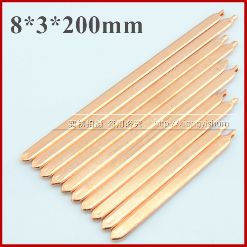 DIY laptop brass cooler heat exchanger tube fins efficient copper heat pipe 8*3*200mm [within Thermal conductivity liquid](China (Mainland))