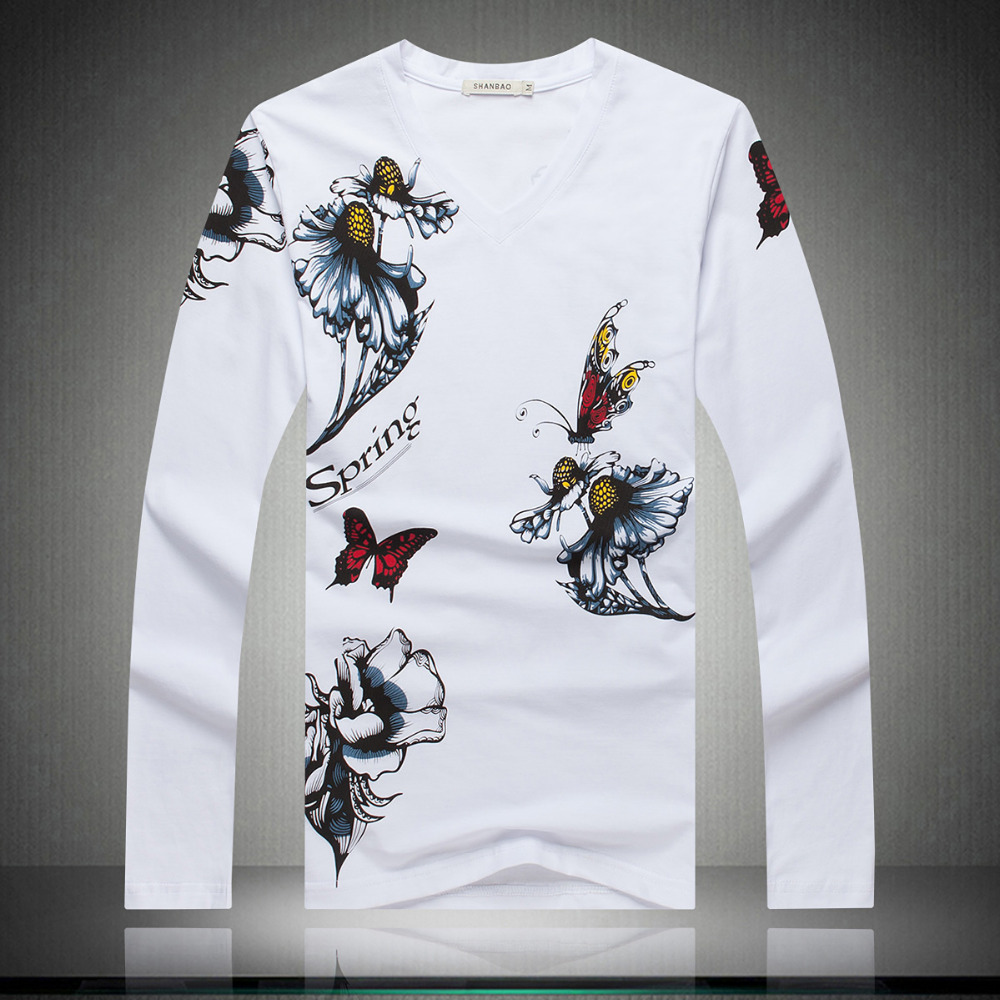 Fashion Butterfly print t shirt men autumn v-neck long-sleeve t-shirt slim letter casual mens tshirt 5XL