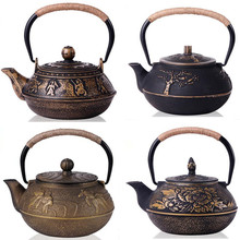New Japanese Cast Iron Teapot Uncoated Kung Fu Tea Pot With Filter Handpainted Kettle Tetera De Hierro Fundido Drinkware 6 Style(China (Mainland))