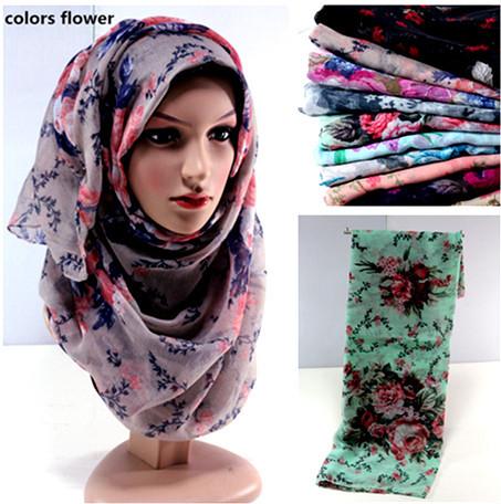 women's printed infinity mix color viscose hijab head wrap muslim scarves scarf 10pcs/lot(China (Mainland))