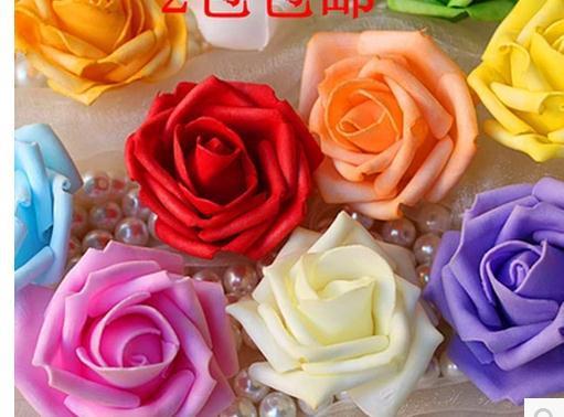 Simulation Rose (10/ Lot) 6- 7 cm foam rose handmade DIY wedding home decoration artificial flower festival  -  bouquet store
