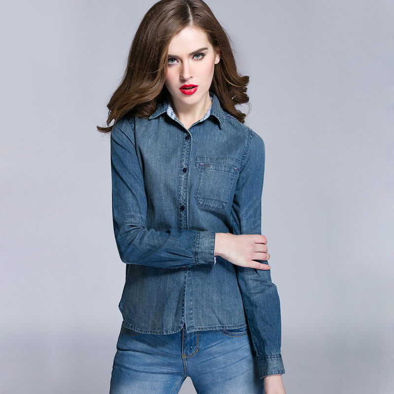 High quality 2016 brand new arrival Classic Spring Long Sleeve 100% cotton Womens jean shirt casual turn down collar jean shirtОдежда и ак�е��уары<br><br><br>Aliexpress