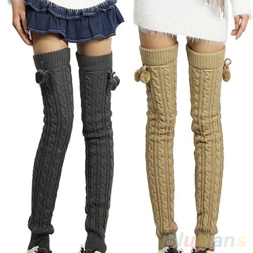Knitting Pattern For Thigh High Leg Warmers : Womens Winter Crochet Knitted Stocking Footless Leg ...