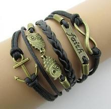 2016 vintage fashion  owl big 8 love double infinite multi-layer leather bracelet factory wholesale price Jewellery(China (Mainland))