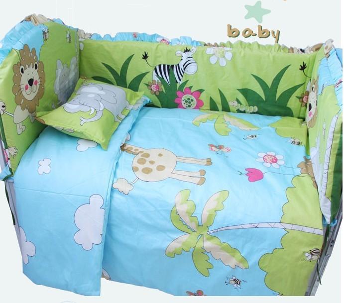Promotion! 7pcs baby bedding set Infant Bedding Sets Nursery Bedding sets (bumper+duvet+matress+pillow)<br><br>Aliexpress