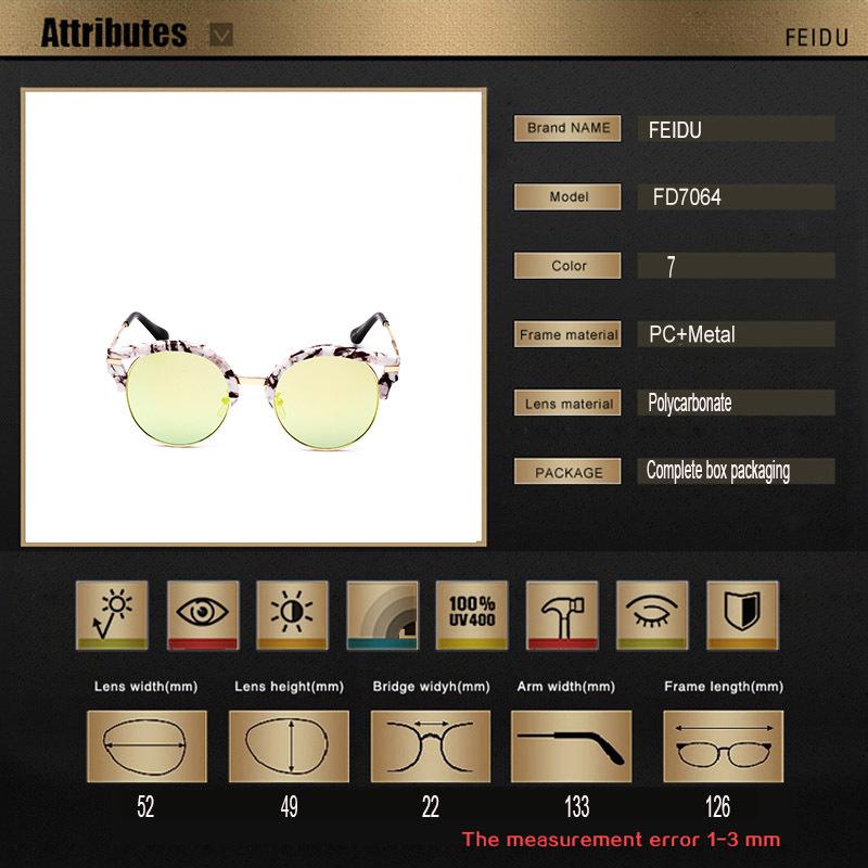 FEIDU 2015 Summer Fashion Round Sunglasses Women Eyewear Brand Designer glasses Multi color Points Sun Glasses