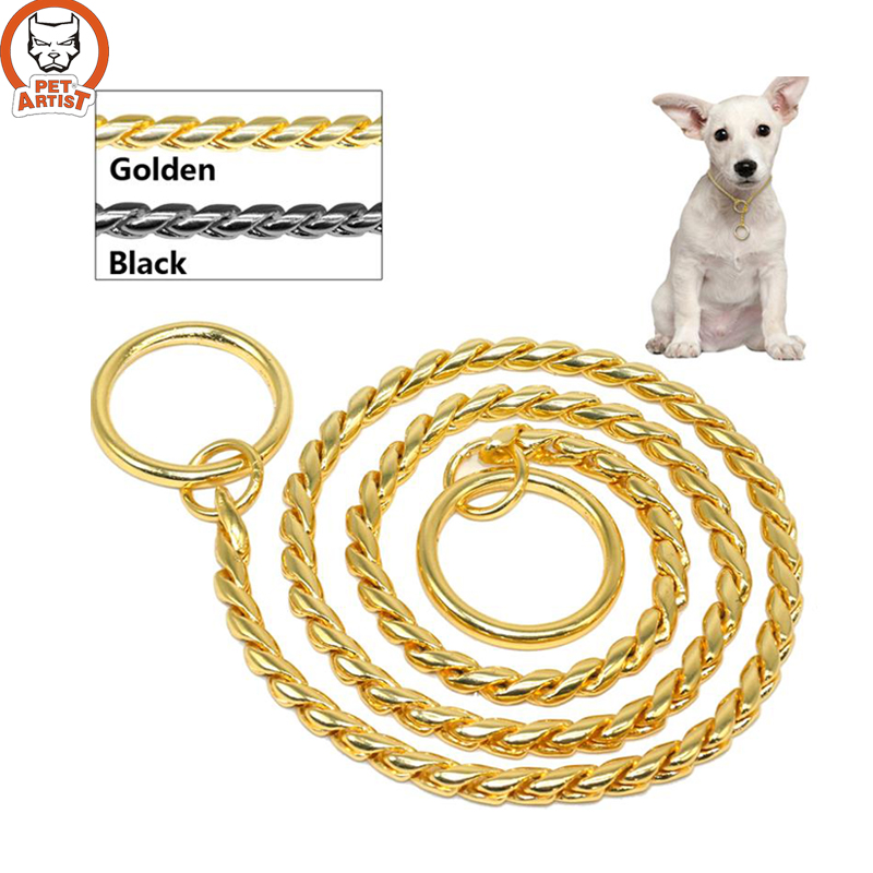 Snake Chain Dog Show Collar Heavy Metal Chain Dog Training Choke Collar Strong Chrome or Gold 3mm 4mm 5mm(China (Mainland))