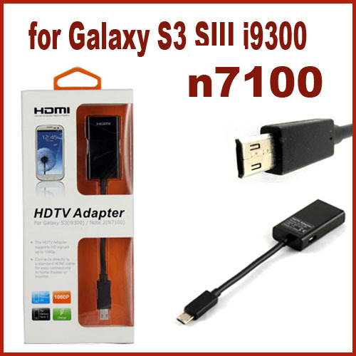 Direct Marketing MHL Mirco USB to HDMI HDTV Adapter for Galaxy S3 SIII i9300/note2 n7100 With Retail Package Free Drop Shipping(China (Mainland))