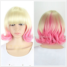 Long Curly Yellow Pink
