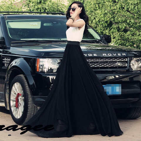 High Waisted Long Maxi Skirt
