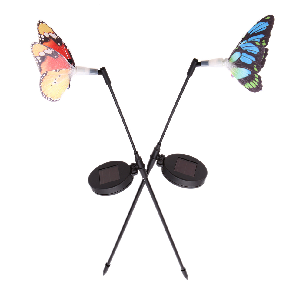 2 Pieces Rechargeable Solar Power Fibre Optical with Photo Cell Sensor Butterfly RGB LED Color Changing Light Garden Stake Lamp(China (Mainland))