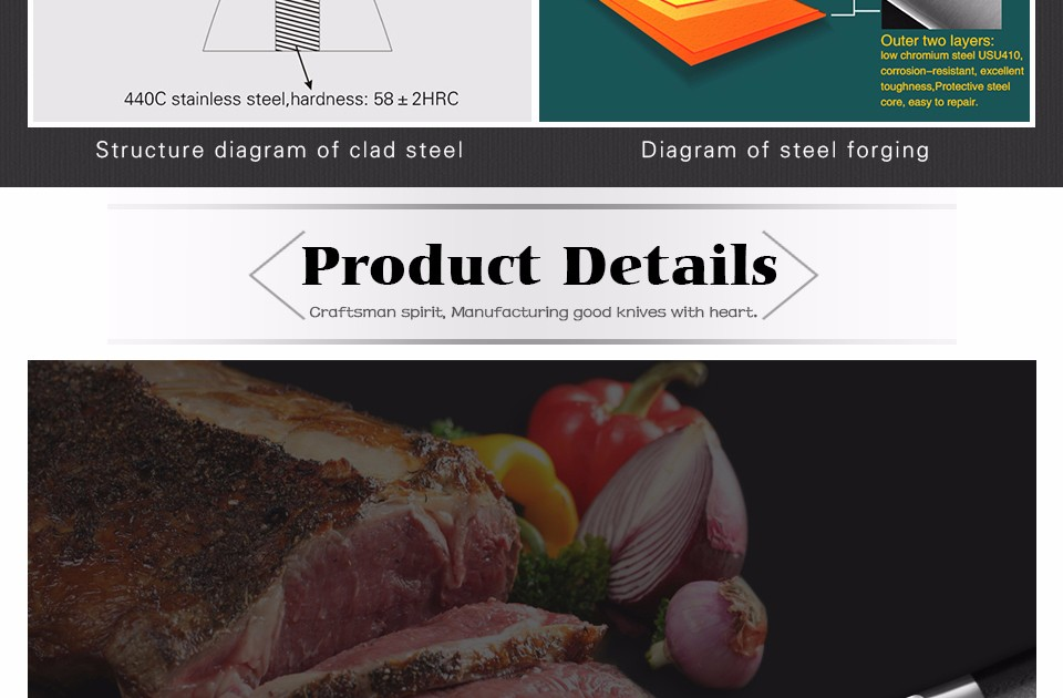 Buy XINZUO 9.5 inch butcher knife 3-layer 440C clad steel chef knife kitchen knives G10 handle Japanese cleaver knife free shipping cheap