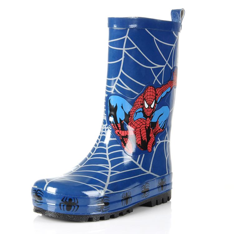 Maggie's Walker Rain Boots Boy And Girls Winter Spiderman Shoes for Boys High Baby Children Kid Rain Boots Water Kid Waterproof(China (Mainland))