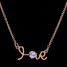 Hot sale real 18k rose gold plated letter love pendant necklace zircon charm necklace for lover(China (Mainland))