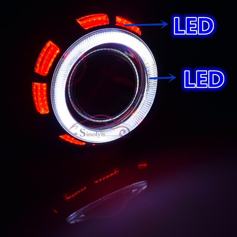 Motorcycle Headlight Double Dual LED COB Angel Eyes Halo HID Bixenon Projector Lens Headlamps AC Kit Universal 4300K 6000K 8000K<br><br>Aliexpress