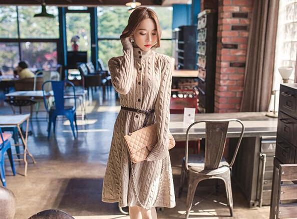 women Winter sweater New korean Women's long sweaters cashmere dress loose knitwear Christmas gifts casual cardigan - fashion Trading Co.,Ltd. store