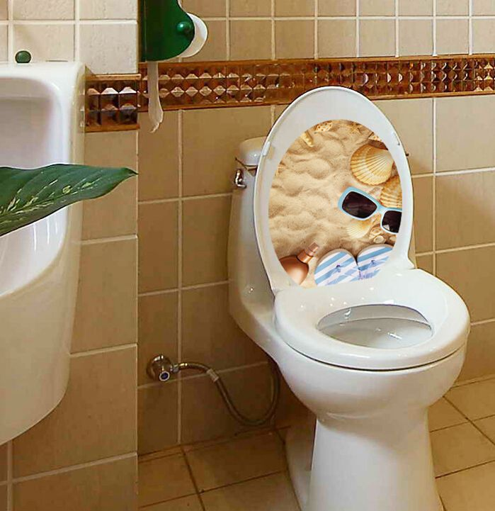 Beach sunglass toilet sticker seashell papel de parede 3d for Decoration wc