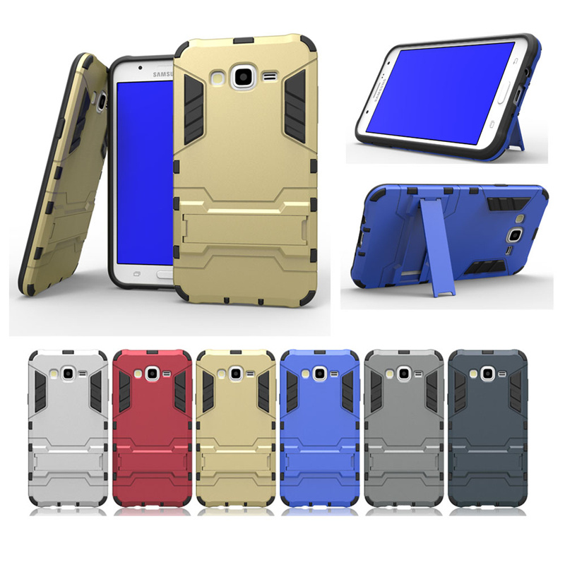 For Samsung Galaxy J7 J700 J700F Case Dual Layer Hybrid Rugged Armor Hard PC+TPU Shockproof With Kickstand Cover Cases 30pcs