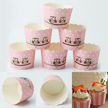 50pcs Pink Polka Dot Owl Pattern Paper Cake Baking Cupcake Muffin Cases Wrapper Bakeware Baking Pastry Tool Home Kitchen Party(China (Mainland))
