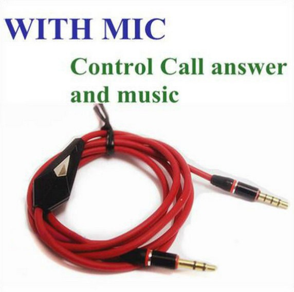 Cable Mic Red 3.5mm Male AUX Stereo Audio iphone IPAD SAMSUNG - ECF Headphone Supplier store
