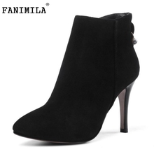 Women Real Genuine Leather Ankle Boots Vintage Thin High Heels Spring Autumn Shoes Less Platform Heeled Size 33-40 - Shop1267192 Store store