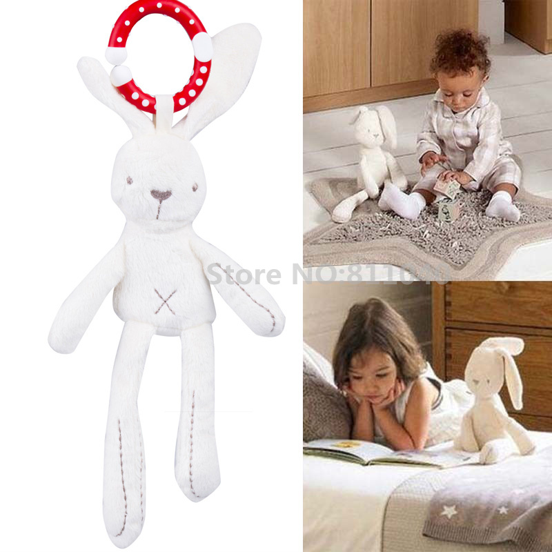 New 2016 Baby Infant Rattles Plush Rabbit Stroller Music Wind chimes Hanging Bell Toy Doll Soft Bed Gift Appease Toys(China (Mainland))