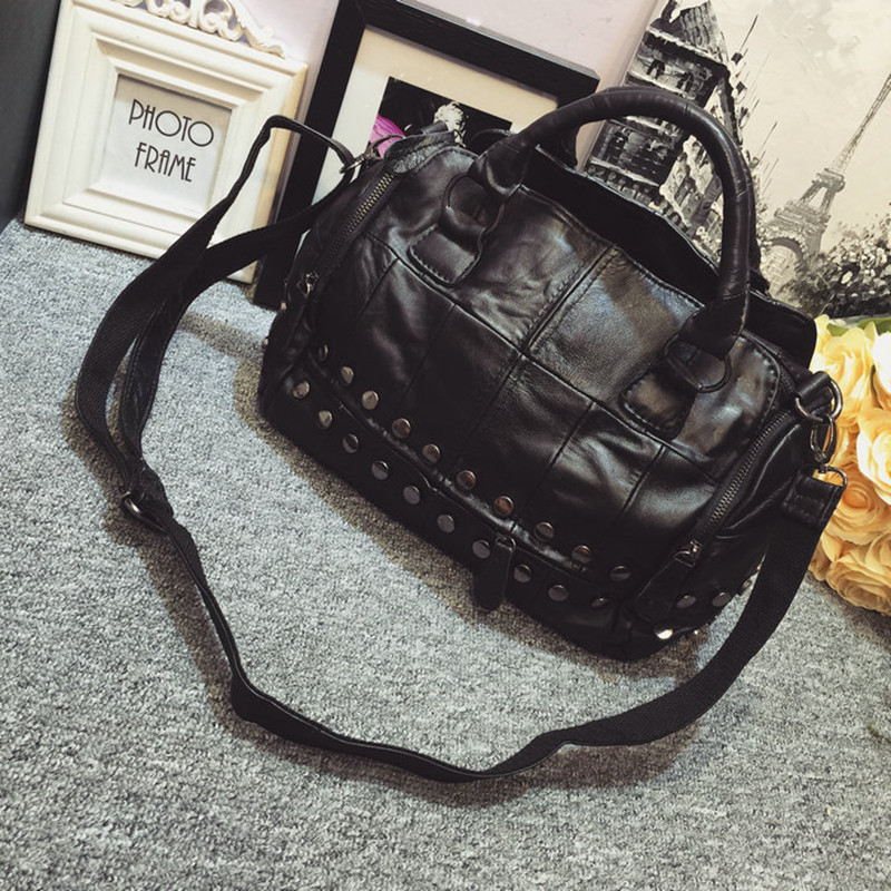 New Women's Genuine Leather Vintage Rivets Boston Motorcycle Handbag Brand Designer Shoulder Bag High Quality Messenger Bag(China (Mainland))
