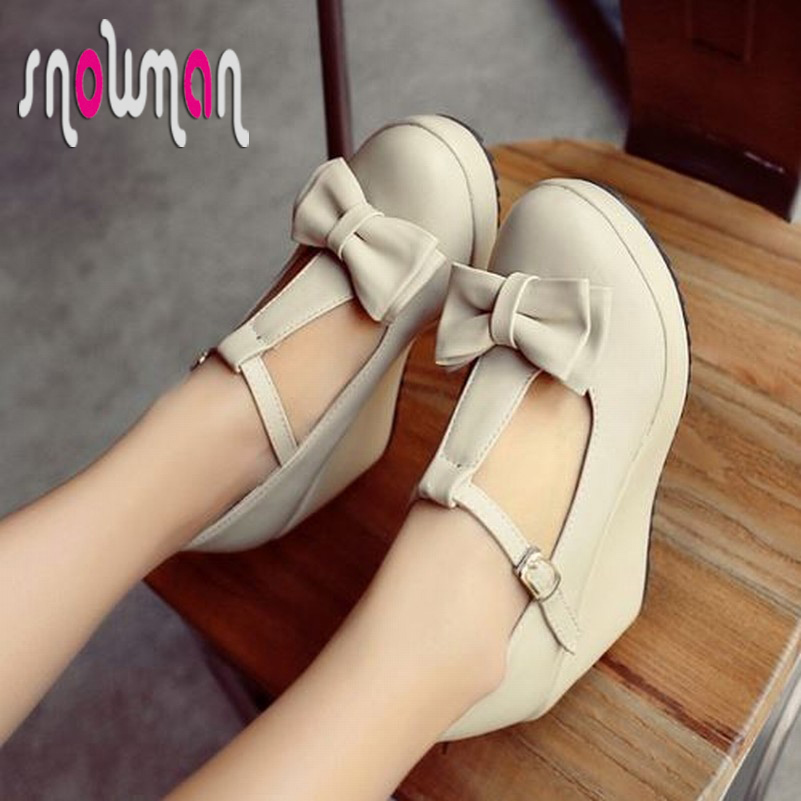 vintage t-strap women shoes sweet bowtie platform shoes sexy high wedges platform shoes for women 2015 shoes<br><br>Aliexpress