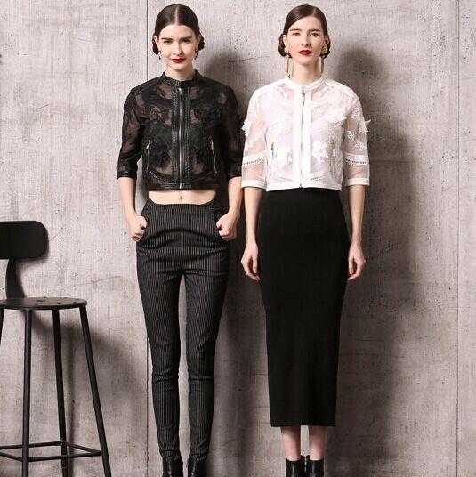 Новый 2015 весна лето женщины роскошные вышивки органзы куртка выдалбливают прозрачный ...