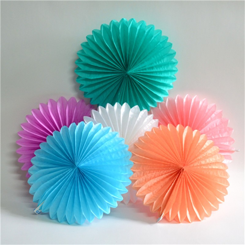 Decorative crafts 20cm 1pcs flower origami paper fan for Decoration paper