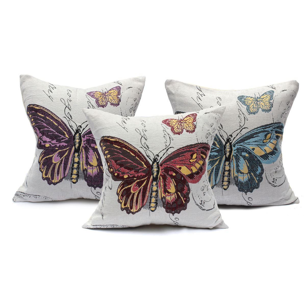 Popular Vintage Embroidery Brio Butterfly Square Cotton Linen Throw Pillow Case Sofa Cushion Cover Universal Car Home Decor Gift(China (Mainland))