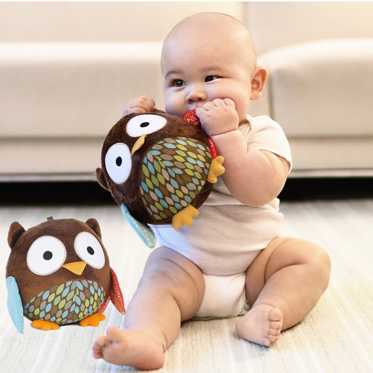 Free shipping cute owl baby plush toy soft cloth music ball kid's ball toy hand rattles bell mobiles musci ball SKP003-8(China (Mainland))