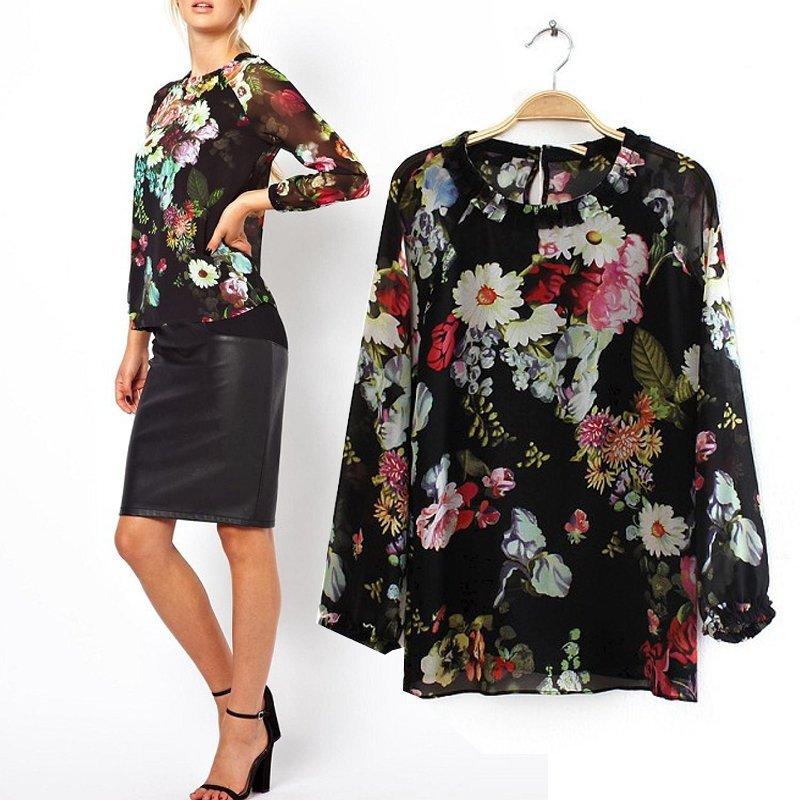 Vintage Womens Black Multi Color Floral Print Chiffon