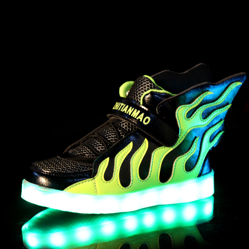 High Quality Children Wings Led Light Shoes Kids Luminous Glowing Fashion Sneakers New USB Charging Fashion Sneakers 6221a(China (Mainland))