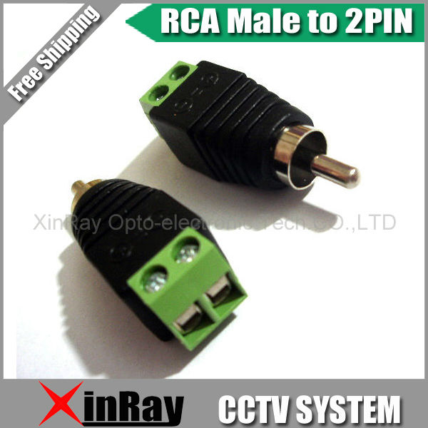 Free Shipping 10pcs RCA Male TO 2Pin Adapter,Camera DVR Connector,CCTV Accessories ,Wholesale XR-AC29<br><br>Aliexpress