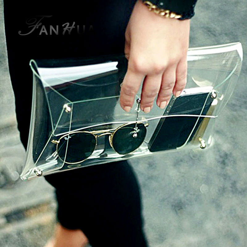 New fashion personality trend casual bags clear plastic envelopes Shoulder Messenger Handbag(China (Mainland))