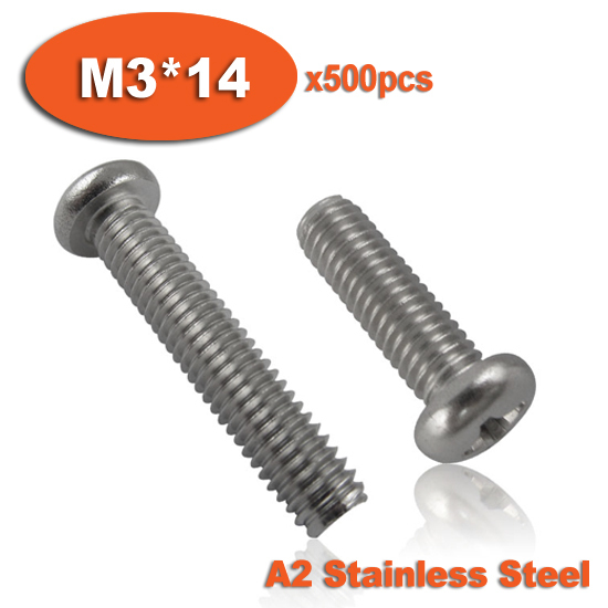 500pcs DIN7985 M3 x 14 A2 Stainless Steel Pan Head Phillips Screw Cross Recessed Raised Cheese Head Screws<br><br>Aliexpress