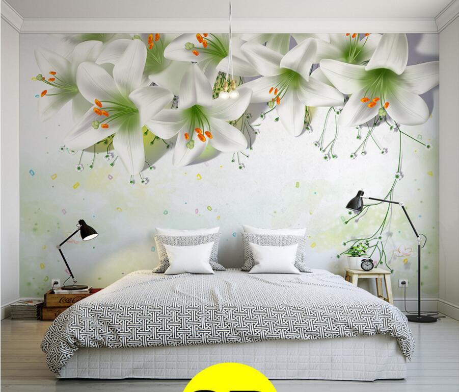 العرف زنابق دفء بسيطة أنيقة التعاقد الجداريات ، الأطفال نوم غرفة المعيشة أريكة التلفزيون جدار 3d خلفيات papel دي parede(China (Mainland))