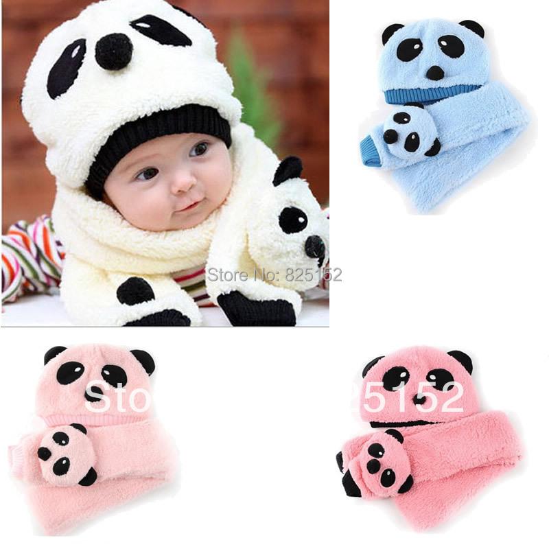 2pcs Cute Newborn Toddler Infant Unisex Girl Boy Baby winter Kids Hat Cap Beanie+Scarf Animal Panda Cartoon 1-5Y Headwear 4color(China (Mainland))