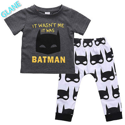2016 New 2Pcs Set Newborn Baby Boys Batman Clothes T-shirt Tops Pants Outfits 0-24M UK Infant Bodysuit Carters Baby Boy Clothes(China (Mainland))