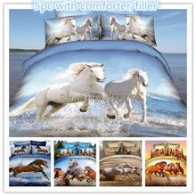 5pc brand new horse reactive printing bed duvet cover bedding sets for queen with bed sheet comforter bedclothes - bed in a bag(China (Mainland))