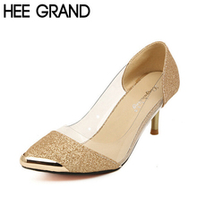 HOT Women Pumps High Quality Fashion PU Leather Thin High-Heel Pumps Woman Shoes Gold, Sliver and Black XWZ119(China (Mainland))