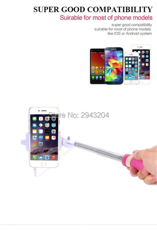 selfie stick Wired Portable Monopod Extendable Handheld Tripod Holder for iPhone/Xiaomi/Huawei/Asus IOS Android Phone