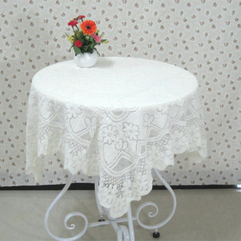 White Wedding Tablecloth New Syle Floral Cotton Lace Round Hot Table Cloth High Quality Mantele Table Cover Nappe Toalha De Mesa(China (Mainland))