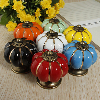 1pcs Colors Pumpkins Knobs Europe Ceramic Door Cabinet Cupboard Handles Pull Drawer 40mm