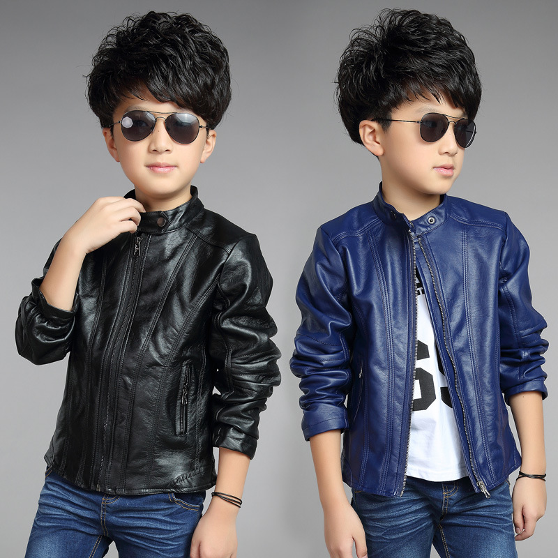 2015 Autumn/Winter Leather Coat For Boys Jacket For Boys Trench,Kids Jacket,Baby Jacket,Baby Clothes,Black/Blue,Height 95-155cm<br><br>Aliexpress