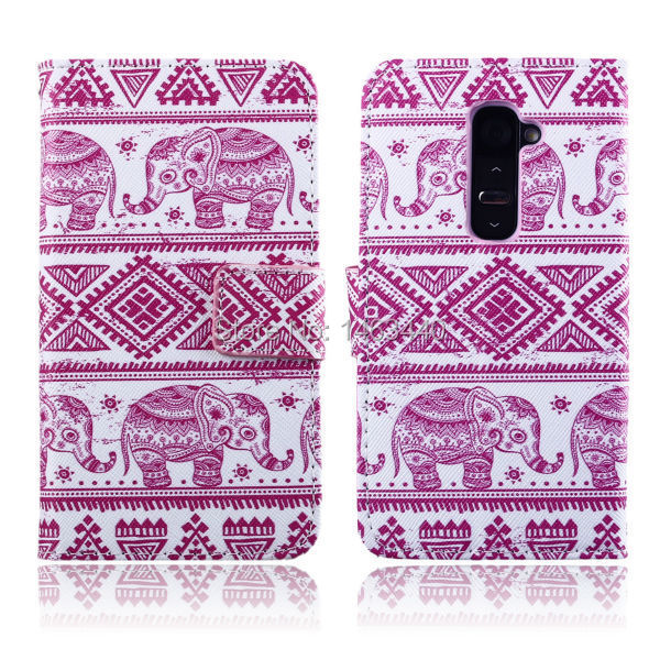 High Quality capa For LG G2 phone case pink Elephant Color images PU Leather stand wallet cover DKS-CTG2A-1(China (Mainland))