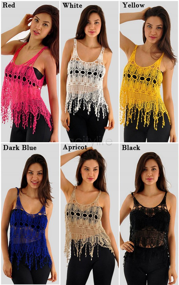 Summer Tops tank tops Sexy Cover Up Sleeveless Tank Lace Vest Hollow Crochet Sleeveless Shirt Ladies' Vest Tops Blouse 18(China (Mainland))